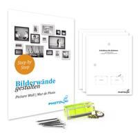 3er Set Landhaus-Bilderrahmen 20x20 cm Nuss Massivholz mit Glasscheibe und Zubehör / Fotorahmen  – Bild 3