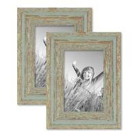 2er Set Vintage Bilderrahmen 10x15 cm Grau-Grün Shabby-Chic Massivholz mit Glasscheibe und Zubehör / Fotorahmen / Nostalgierahmen  – Bild 1