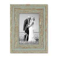2er Set Vintage Bilderrahmen 10x15 cm Grau-Grün Shabby-Chic Massivholz mit Glasscheibe und Zubehör / Fotorahmen / Nostalgierahmen  – Bild 5