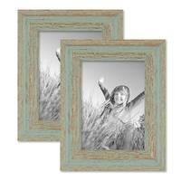Vintage Bilderrahmen 2er Set 13x18 cm Grau-Grün Shabby-Chic