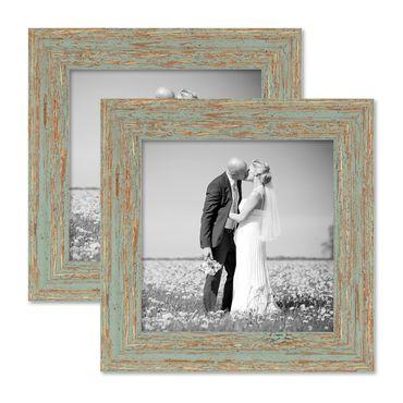 2er Set Vintage Bilderrahmen 20x20 cm Grau-Grün Shabby-Chic Massivholz mit Glasscheibe und Zubehör / Fotorahmen / Nostalgierahmen
