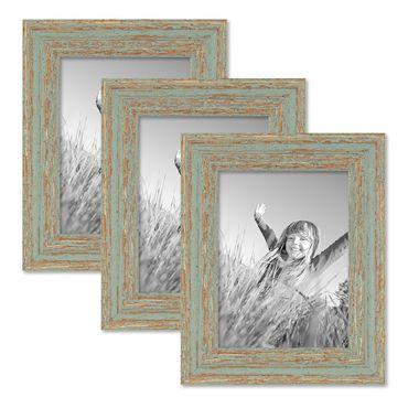 3er Set Bilderrahmen 15x20 cm Grau-Grün Shabby-Chic Vintage Massivholz mit Glasscheibe und Zubehör / Fotorahmen / Nostalgierahmen