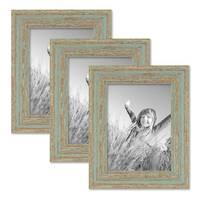3er Set Bilderrahmen 15x20 cm Grau-Grün Shabby-Chic Vintage Massivholz mit Glasscheibe und Zubehör / Fotorahmen / Nostalgierahmen  – Bild 1