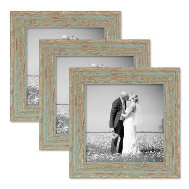 3er Set Vintage Bilderrahmen 20x20 cm Grau-Grün Shabby-Chic Massivholz mit Glasscheibe und Zubehör / Fotorahmen / Nostalgierahmen
