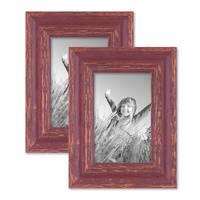 2er Set Vintage Bilderrahmen 10x15 cm Holz Rot-braun Shabby-Chic Massivholz mit Glasscheibe und Zubehör / Fotorahmen / Nostalgierahmen  – Bild 1