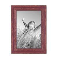 2er Set Vintage Bilderrahmen 20x30 cm Holz Rot-braun Shabby-Chic Massivholz mit Glasscheibe und Zubehör / Fotorahmen / Nostalgierahmen  – Bild 4