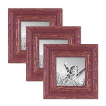 3er Set Bilderrahmen 10x10 cm Holz Rot-braun Shabby-Chic Vintage Massivholz mit Glasscheibe und Zubehör / Fotorahmen / Nostalgierahmen