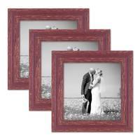 3er Set Vintage Bilderrahmen 20x20 cm Holz Rot-braun Shabby-Chic Massivholz mit Glasscheibe und Zubehör / Fotorahmen / Nostalgierahmen  – Bild 1
