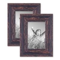 2er Set Vintage Bilderrahmen 10x15 cm Holz Dunkelbraun Shabby-Chic Massivholz mit Glasscheibe und Zubehör / Fotorahmen / Nostalgierahmen  – Bild 1