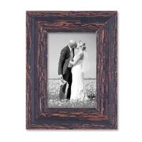 2er Set Bilderrahmen 10x15 cm Holz Dunkelbraun Shabby-Chic Vintage Massivholz mit Glasscheibe und Zubehör / Fotorahmen / Nostalgierahmen  – Bild 7