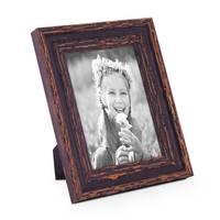 2er Set Vintage Bilderrahmen 10x15 cm Holz Dunkelbraun Shabby-Chic Massivholz mit Glasscheibe und Zubehör / Fotorahmen / Nostalgierahmen  – Bild 3