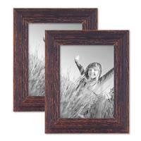 2er Set Vintage Bilderrahmen 15x20 cm Holz Dunkelbraun Shabby-Chic Massivholz mit Glasscheibe und Zubehör / Fotorahmen / Nostalgierahmen