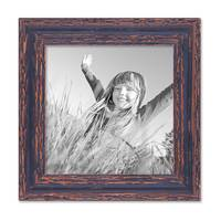 2er Set Vintage Bilderrahmen 20x20 cm Holz Dunkelbraun Shabby-Chic Massivholz mit Glasscheibe und Zubehör / Fotorahmen / Nostalgierahmen  – Bild 4