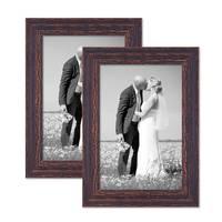 2er Set Vintage Bilderrahmen 20x30 cm Holz Dunkelbraun Shabby-Chic Massivholz mit Glasscheibe und Zubehör / Fotorahmen / Nostalgierahmen  – Bild 1