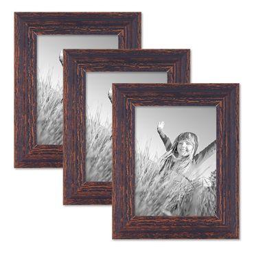 3er Set Vintage Bilderrahmen 15x20 cm Holz Dunkelbraun Shabby-Chic Massivholz mit Glasscheibe und Zubehör / Fotorahmen / Nostalgierahmen