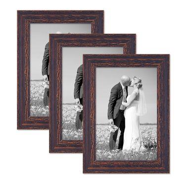 3er Set Vintage Bilderrahmen 20x30 cm Holz Dunkelbraun Shabby-Chic Massivholz mit Glasscheibe und Zubehör / Fotorahmen / Nostalgierahmen
