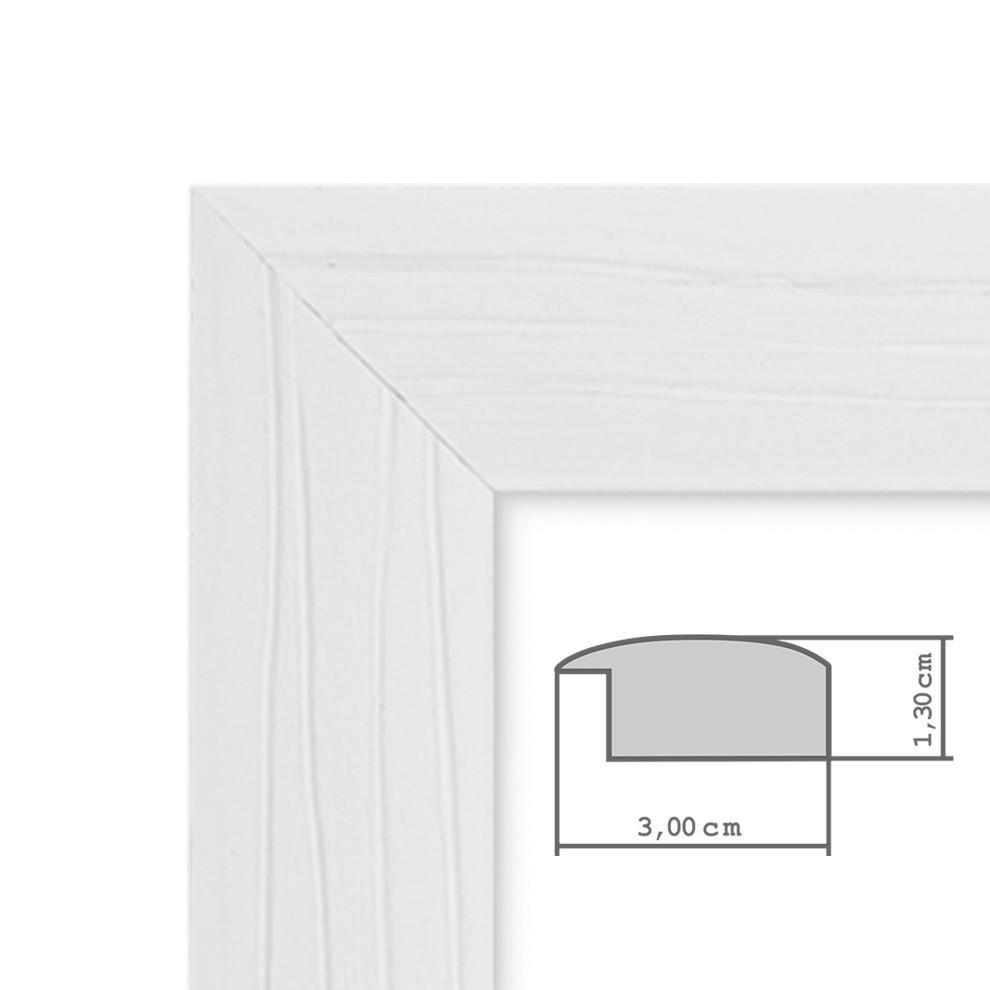 bilderrahmen 30x42 cm din a3 weiss modern massivholz rahmen mit maserung mit glasscheibe und. Black Bedroom Furniture Sets. Home Design Ideas