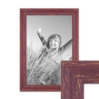 Bilderrahmen 30x42 cm / DIN A3 Holz Rot-braun Shabby-Chic Vintage Massivholz mit Glasscheibe und Zubehör / Fotorahmen / Nostalgierahmen