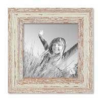 Vintage Bilderrahmen 15x15 cm Weiss Shabby-Chic Massivholz mit Glasscheibe und Zubehör / Fotorahmen / Nostalgierahmen  – Bild 1