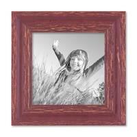 Bilderrahmen 15x15 cm Holz Rot-braun Shabby-Chic Vintage Massivholz mit Glasscheibe und Zubehör / Fotorahmen / Nostalgierahmen