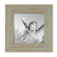 Vintage Bilderrahmen 15x15 cm Grau-Grün Shabby-Chic Massivholz mit Glasscheibe und Zubehör / Fotorahmen / Nostalgierahmen  – Bild 1