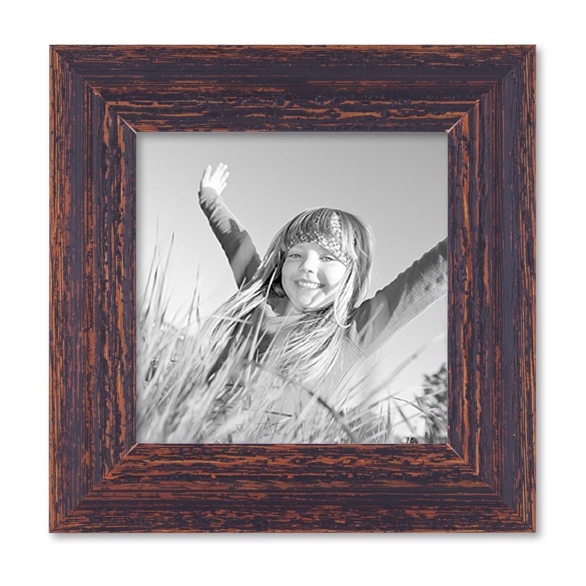 vintage bilderrahmen 15x15 cm holz dunkelbraun shabby chic massivholz mit glasscheibe und. Black Bedroom Furniture Sets. Home Design Ideas