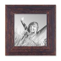 Vintage Bilderrahmen 15x15 cm Holz Dunkelbraun Shabby-Chic Massivholz mit Glasscheibe und Zubehör / Fotorahmen / Nostalgierahmen  – Bild 1