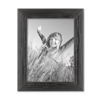 Bilderrahmen 18x24 cm Schwarz Modern Massivholz-Rahmen mit Maserung mit Glasscheibe und Zubehör / zum Stellen oder Hängen / Fotorahmen  – Bild 1