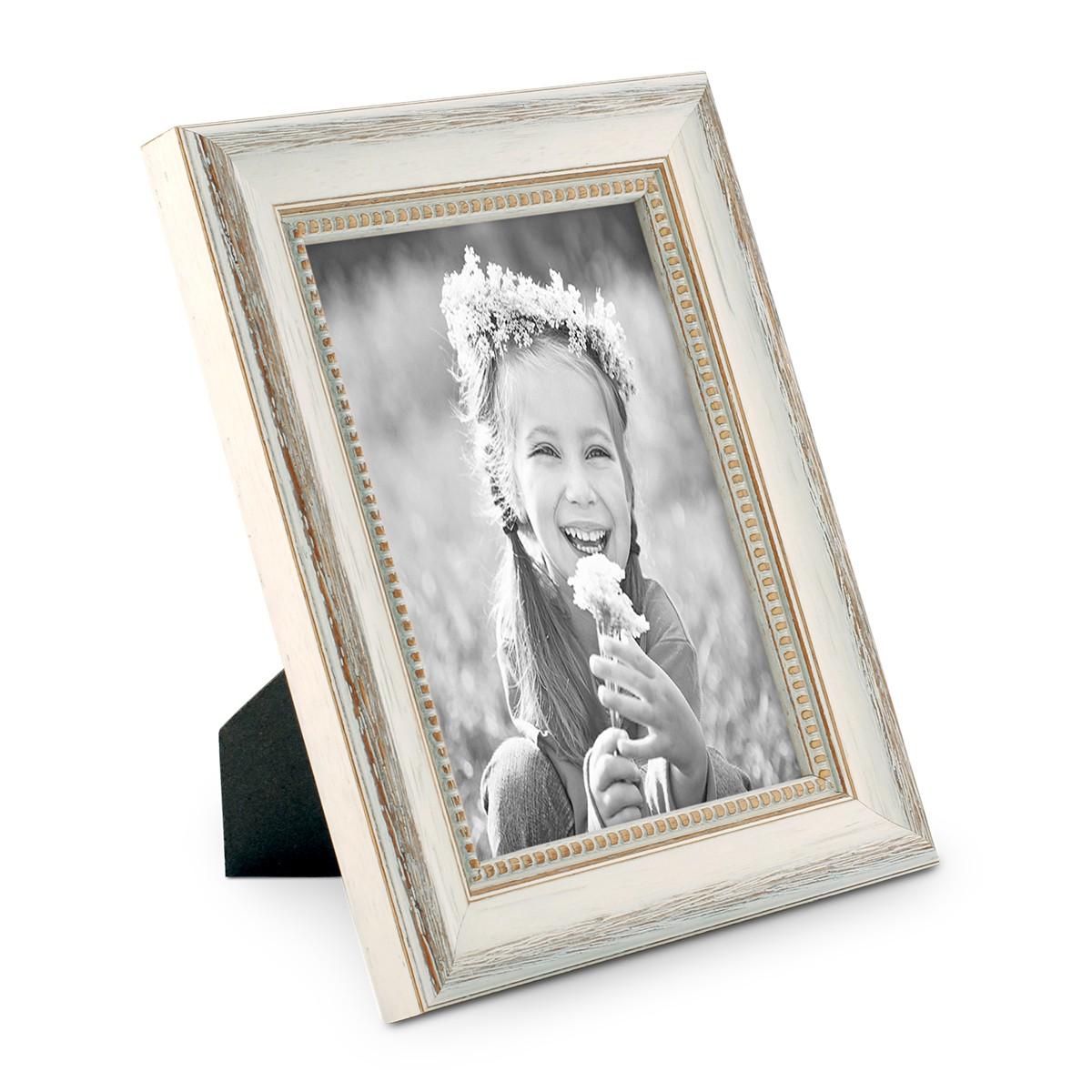 Bilderrahmen Shabby-Chic Landhaus-Stil Weiss 18x24 cm Massivholz mit ...