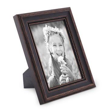 Bilderrahmen 18x24 cm Shabby-Chic Landhaus-Stil Dunkelbraun Massivholz mit Glasscheibe und Zubehör / Fotorahmen