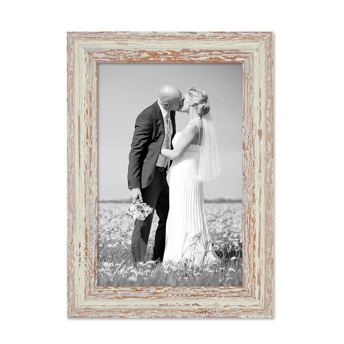 Bilderrahmen 18x24 cm Weiss Shabby-Chic Vintage Massivholz mit ...