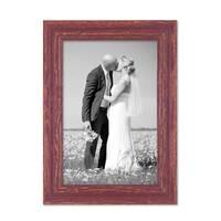 Vintage Bilderrahmen 18x24 cm Holz Rot-braun Shabby-Chic Massivholz mit Glasscheibe und Zubehör / Fotorahmen / Nostalgierahmen  – Bild 1