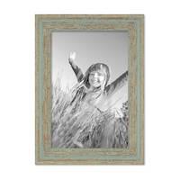 Vintage Bilderrahmen 18x24 cm Grau-Grün Shabby-Chic Massivholz mit Glasscheibe und Zubehör / Fotorahmen / Nostalgierahmen  – Bild 1