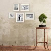 5er-Set Bilderrahmen Shabby-Chic Landhaus-Stil Weiss 10x10, 10x15, 13x18 und 15x20 cm inkl. Zubehör / Fotorahmen