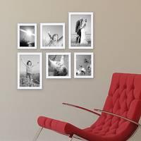 6er Set Bilderrahmen 15x20 20x20 und 20x30 cm Weiss Modern aus MDF mit Glasscheibe und Zubehör / Fotorahmen  – Bild 4