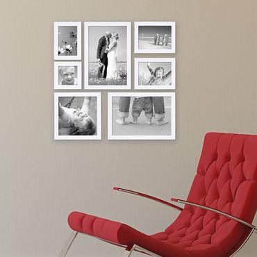 7er Set Bilderrahmen 10x10 10x15 13x18 20x20 und 20x30 cm Weiss Modern aus MDF mit Glasscheibe und Zubehör / Fotorahmen