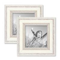 2er Set Bilderrahmen Shabby-Chic Landhaus-Stil Weiss 15x15 cm Massivholz mit Glasscheibe und Zubehör / Fotorahmen – Bild 1