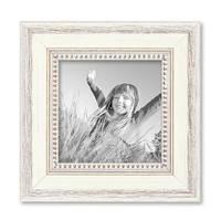 2er Set Bilderrahmen Shabby-Chic Landhaus-Stil Weiss 15x15 cm Massivholz mit Glasscheibe und Zubehör / Fotorahmen – Bild 5