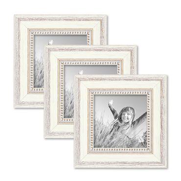 3er Set Bilderrahmen Shabby-Chic Landhaus-Stil Weiss 15x15 cm Massivholz mit Glasscheibe und Zubehör / Fotorahmen