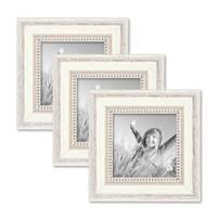 3er Set Bilderrahmen Shabby-Chic Landhaus-Stil Weiss 15x15 cm Massivholz mit Glasscheibe und Zubehör / Fotorahmen – Bild 1