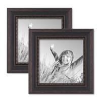 2er Set Bilderrahmen 15x15 cm Shabby-Chic Landhaus-Stil Dunkelbraun Massivholz mit Glasscheibe und Zubehör / Fotorahmen  – Bild 1