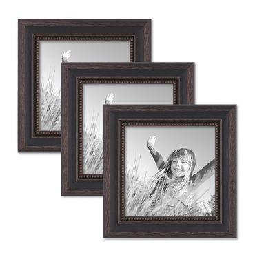 3er Set Bilderrahmen 15x15 cm Shabby-Chic Landhaus-Stil Dunkelbraun Massivholz mit Glasscheibe und Zubehör / Fotorahmen