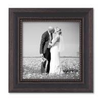 3er Set Bilderrahmen 15x15 cm Shabby-Chic Landhaus-Stil Dunkelbraun Massivholz mit Glasscheibe und Zubehör / Fotorahmen  – Bild 3
