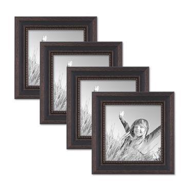 4er Set Bilderrahmen 15x15 cm Shabby-Chic Landhaus-Stil Dunkelbraun Massivholz mit Glasscheibe und Zubehör / Fotorahmen