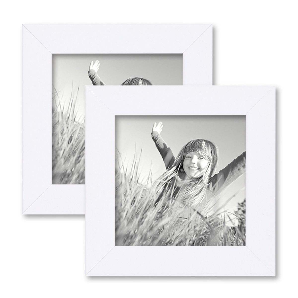 2er Set Bilderrahmen 15x15 cm Weiss Modern aus MDF mit Glasscheibe ...