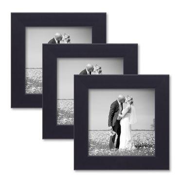 3er Set Bilderrahmen 15x15 cm Schwarz Modern aus MDF mit Glasscheibe und Zubehör / Fotorahmen