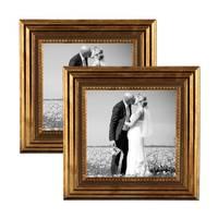 2er Set Bilderrahmen 15x15 cm Gold Barock Antik Massivholz mit Glasscheibe und Zubehör / Fotorahmen / Barock-Rahmen  – Bild 1