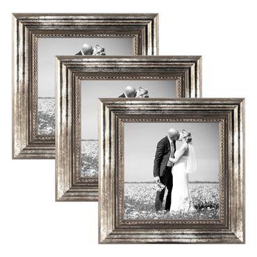 3er Set Bilderrahmen 15x15 cm Silber Barock Antik Massivholz mit Glasscheibe und Zubehör / Fotorahmen / Barock-Rahmen