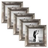 5er Set Bilderrahmen 15x15 cm Silber Barock Antik Massivholz mit Glasscheibe und Zubehör / Fotorahmen / Barock-Rahmen  – Bild 1