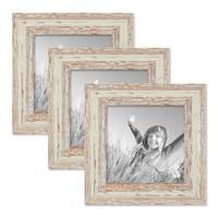 3er Set Vintage Bilderrahmen 15x15 cm Weiss Shabby-Chic Massivholz mit Glasscheibe und Zubehör / Fotorahmen / Nostalgierahmen  – Bild 1